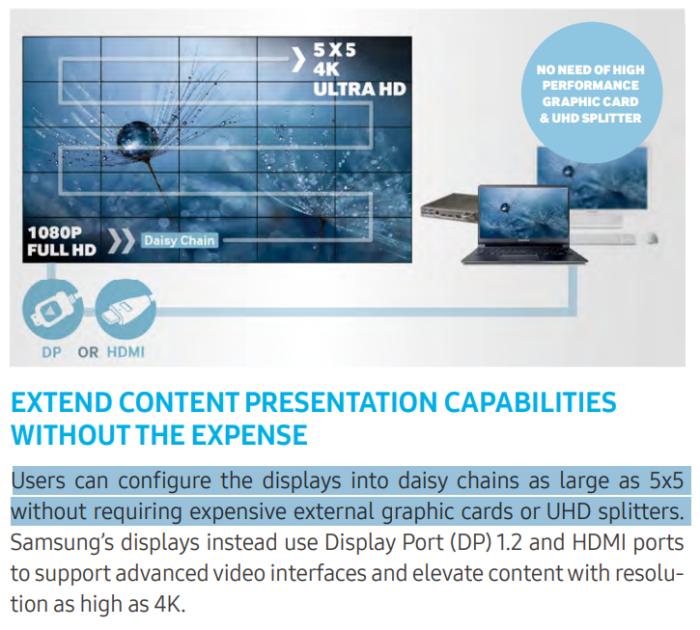 Из дисплеев этой модели можно складывать видеостену до 5 экранов в высоту и ширину (5х5) без дополнительных дорогостоящих видеокарт или UHD-сплиттеров.