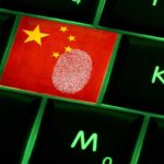 Компьютерная клавиша с флагом Китая на клавиатуре